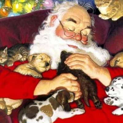 Santa takes a nap with puppies and kittens