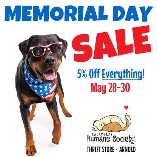 Memorial Weekend sale at Arnold Thrift Store