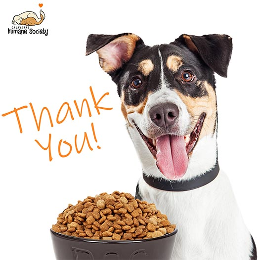 Thank you for your pet food drive donations